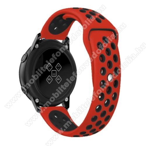 Garmin VenuOkosóra szíj - légáteresztő, sportoláshoz, szilikon, 123mm + 90mm hosszú, 20mm széles - FEKETE / PIROS - SAMSUNG Galaxy Watch 42mm / Xiaomi Amazfit GTS / SAMSUNG Gear S2 / HUAWEI Watch GT 2 42mm / Galaxy Watch Active / Active 2