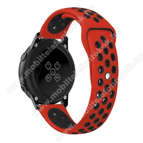 Okosóra szíj - légáteresztő, sportoláshoz, szilikon, 123mm + 90mm hosszú, 20mm széles - FEKETE / PIROS - SAMSUNG Galaxy Watch 42mm / Xiaomi Amazfit GTS / SAMSUNG Gear S2 / HUAWEI Watch GT 2 42mm / Galaxy Watch Active / Active 2