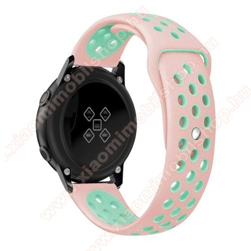 Huami Amazfit Youth Edition LiteOkosóra szíj - légáteresztő, sportoláshoz, szilikon, 123mm + 90mm hosszú, 20mm széles - RÓZSASZÍN / CYAN - SAMSUNG Galaxy Watch 42mm / Xiaomi Amazfit GTS / SAMSUNG Gear S2 / HUAWEI Watch GT 2 42mm / Galaxy Watch Active / Active 2
