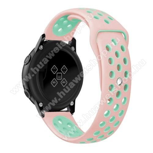 HUAWEI Honor MagicWatch 2 42mmOkosóra szíj - légáteresztő, sportoláshoz, szilikon, 123mm + 90mm hosszú, 20mm széles - RÓZSASZÍN / CYAN - SAMSUNG Galaxy Watch 42mm / Xiaomi Amazfit GTS / SAMSUNG Gear S2 / HUAWEI Watch GT 2 42mm / Galaxy Watch Active / Active 2
