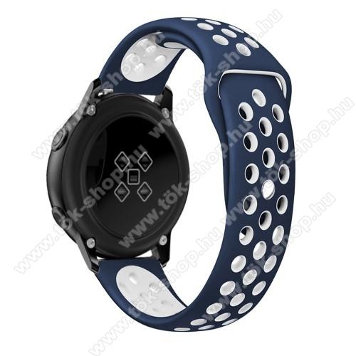 Okosóra szíj - légáteresztő, sportoláshoz, szilikon, 123mm + 90mm hosszú, 20mm széles - FEHÉR / KÉK - SAMSUNG SM-R500 Galaxy Watch Active / SAMSUNG Galaxy Watch Active2 40mm / SAMSUNG Galaxy Watch Active2 44mm