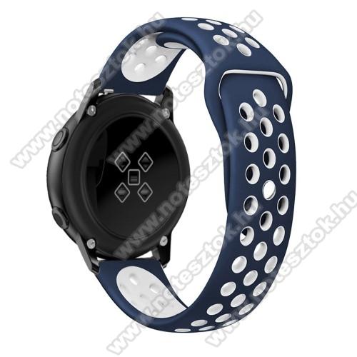 WOTCHI SmartWatch W22SOkosóra szíj - légáteresztő, sportoláshoz, szilikon, 123mm + 90mm hosszú, 20mm széles - FEHÉR / KÉK - SAMSUNG SAMSUNG Galaxy Watch 42mm / Xiaomi Amazfit GTS / SAMSUNG Gear S2 / HUAWEI Watch GT 2 42mm / Galaxy Watch Active / Active 2