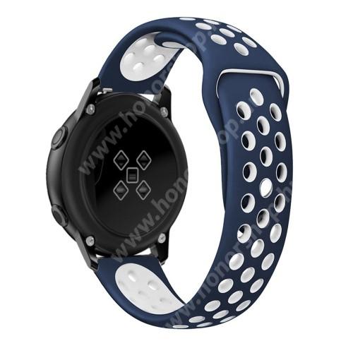 HUAWEI Honor MagicWatch 2 42mm Okosóra szíj - légáteresztő, sportoláshoz, szilikon, 123mm + 90mm hosszú, 20mm széles - FEHÉR / KÉK - SAMSUNG SAMSUNG Galaxy Watch 42mm / Xiaomi Amazfit GTS / SAMSUNG Gear S2 / HUAWEI Watch GT 2 42mm / Galaxy Watch Active / Active 2
