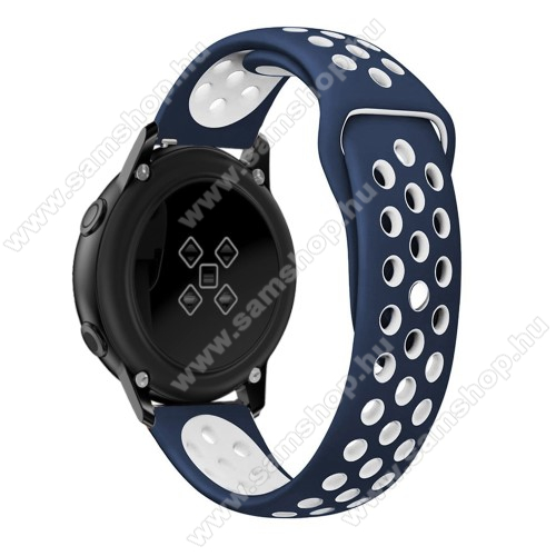Okosóra szíj - légáteresztő, sportoláshoz, szilikon, 123mm + 90mm hosszú, 20mm széles - FEHÉR / KÉK - SAMSUNG SAMSUNG Galaxy Watch 42mm / Xiaomi Amazfit GTS / SAMSUNG Gear S2 / HUAWEI Watch GT 2 42mm / Galaxy Watch Active / Active 2