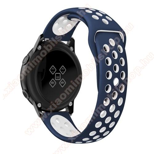 Xiaomi Amazfit Youth EditionOkosóra szíj - légáteresztő, sportoláshoz, szilikon, 123mm + 90mm hosszú, 20mm széles - FEHÉR / KÉK - SAMSUNG SAMSUNG Galaxy Watch 42mm / Xiaomi Amazfit GTS / SAMSUNG Gear S2 / HUAWEI Watch GT 2 42mm / Galaxy Watch Active / Active 2