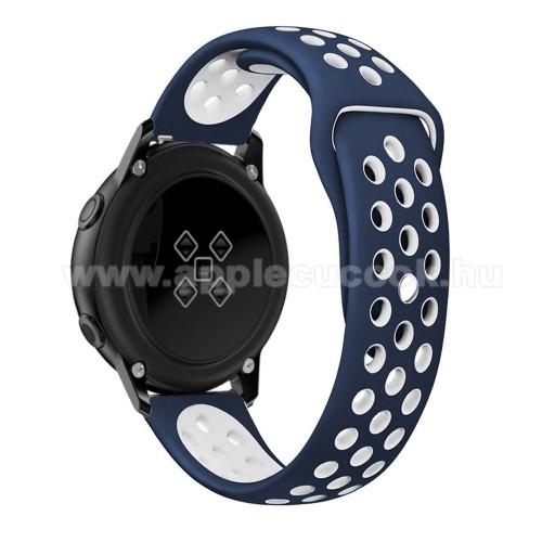 Okosóra szíj - légáteresztő, sportoláshoz, szilikon, 123mm + 90mm hosszú - FEHÉR / KÉK - SAMSUNG SM-R500 Galaxy Watch Active / SAMSUNG Galaxy Watch Active2 40mm / SAMSUNG Galaxy Watch Active2 44mm