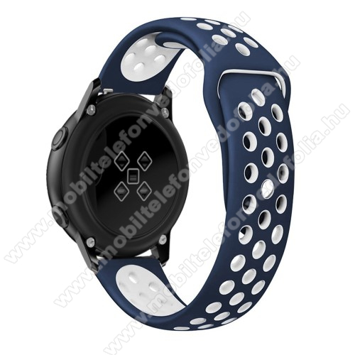 Xiaomi 70mai SaphirOkosóra szíj - légáteresztő, sportoláshoz, szilikon, 123mm + 90mm hosszú, 20mm széles - FEHÉR / KÉK - SAMSUNG SAMSUNG Galaxy Watch 42mm / Xiaomi Amazfit GTS / SAMSUNG Gear S2 / HUAWEI Watch GT 2 42mm / Galaxy Watch Active / Active 2