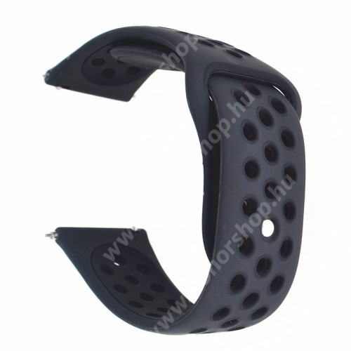 HUAWEI Watch GT 2 42mm Okosóra szíj - légáteresztő, sportoláshoz, szilikon - 88mm + 85mm hosszú, 20mm széles - FEKETE - Garmin Vivomove HR / Garmin Vivoactive 3 / Garmin Forerunner 645 Music / Approach S40