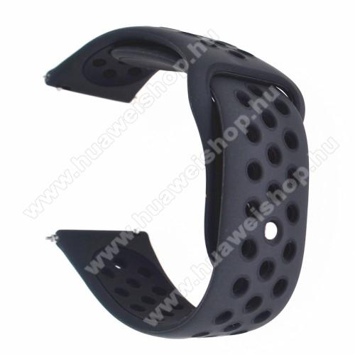 HUAWEI Watch 2Okosóra szíj - légáteresztő, sportoláshoz, szilikon - 88mm + 85mm hosszú, 20mm széles - FEKETE - Garmin Vivomove HR / Garmin Vivoactive 3 / Garmin Forerunner 645 Music