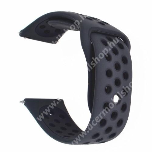 Okosóra szíj - légáteresztő, sportoláshoz, szilikon - 88mm + 85mm hosszú, 20mm széles - FEKETE - Garmin Vivomove HR / Garmin Vivoactive 3 / Garmin Forerunner 645 Music / Approach S40