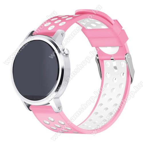 SAMSUNG Galaxy Watch 46mm (SM-R800NZ)Okosóra szíj - légáteresztő, sportoláshoz, szilikon, 236mm hosszú, 22mm széles - RÓZSASZÍN / FEHÉR - Xiaomi Amazfit Stratos 2 / Huami Amazfit 2S