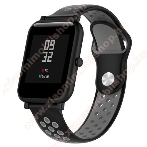 Xiaomi Mi WatchOkosóra szíj - légáteresztő, sportoláshoz, szilikon - 134mm + 97mm hosszú, 18mm széles - FEKETE / SZÜRKE - Xiaomi Mi Watch / Fossil Gen 4 / HUAWEI TalkBand B5