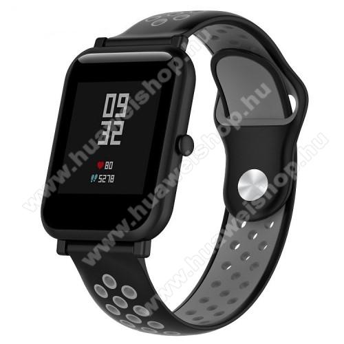 HUAWEI TalkBand B5Okosóra szíj - légáteresztő, sportoláshoz, szilikon - 134mm + 97mm hosszú, 18mm széles - FEKETE / SZÜRKE - Xiaomi Mi Watch / Fossil Gen 4 / HUAWEI TalkBand B5