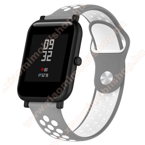 Xiaomi Mi WatchOkosóra szíj - légáteresztő, sportoláshoz, szilikon - 134mm + 97mm hosszú, 18mm széles - SZÜRKE / FEHÉR - Xiaomi Mi Watch / Fossil Gen 4 / HUAWEI TalkBand B5
