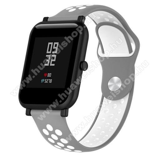 HUAWEI TalkBand B5Okosóra szíj - légáteresztő, sportoláshoz, szilikon - 134mm + 97mm hosszú, 18mm széles - SZÜRKE / FEHÉR - Xiaomi Mi Watch / Fossil Gen 4 / HUAWEI TalkBand B5