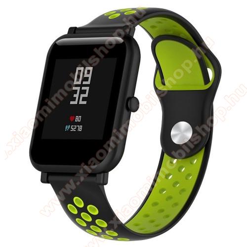 Xiaomi Mi WatchOkosóra szíj - légáteresztő, sportoláshoz, szilikon - 134mm + 97mm hosszú, 18mm széles - FEKETE / ZÖLD - Xiaomi Mi Watch / Fossil Gen 4 / HUAWEI TalkBand B5