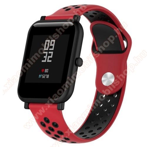 Xiaomi Mi WatchOkosóra szíj - légáteresztő, sportoláshoz, szilikon - 134mm + 97mm hosszú, 18mm széles - PIROS / FEKETE - Xiaomi Mi Watch / Fossil Gen 4 / HUAWEI TalkBand B5