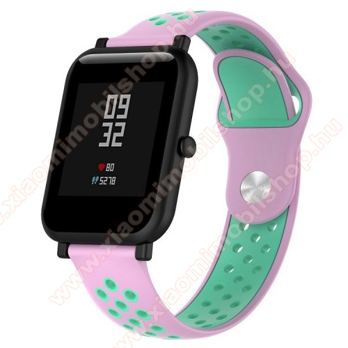 Xiaomi Mi WatchOkosóra szíj - légáteresztő, sportoláshoz, szilikon - 134mm + 97mm hosszú, 18mm széles - RÓZSASZÍN / CIÁN KÉK - Xiaomi Mi Watch / Fossil Gen 4 / HUAWEI TalkBand B5