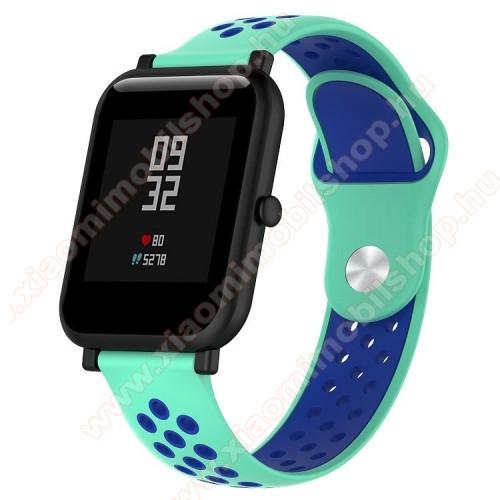 Xiaomi Mi WatchOkosóra szíj - légáteresztő, sportoláshoz, szilikon - 134mm + 97mm hosszú, 18mm széles - CIÁN KÉK / SÖTÉTKÉK - Xiaomi Mi Watch / Fossil Gen 4 / HUAWEI TalkBand B5