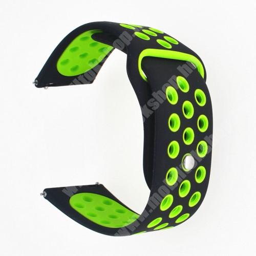 Okosóra szíj - légáteresztő, sportoláshoz, szilikon - 20mm széles - FEKETE / ZÖLD - SAMSUNG Galaxy Watch 42mm / Xiaomi Amazfit GTS / SAMSUNG Gear S2 / HUAWEI Watch GT 2 42mm / Galaxy Watch Active / Active 2