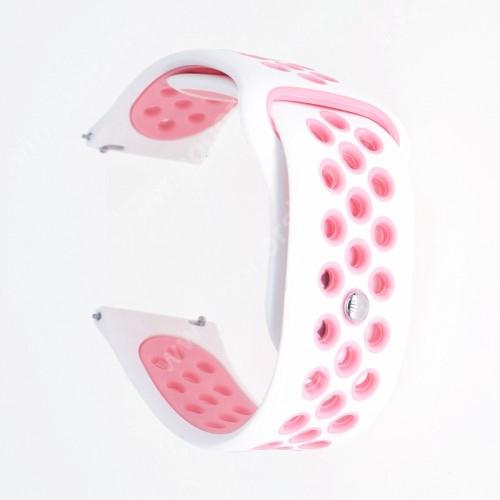 HUAWEI Watch GT 2 42mm Okosóra szíj - légáteresztő, sportoláshoz, szilikon - 20mm széles - FEHÉR / RÓZSASZÍN - SAMSUNG Galaxy Watch 42mm / Xiaomi Amazfit GTS / SAMSUNG Gear S2 Classic / HUAWEI Watch GT 2 42mm / Galaxy Watch Active / Active 2