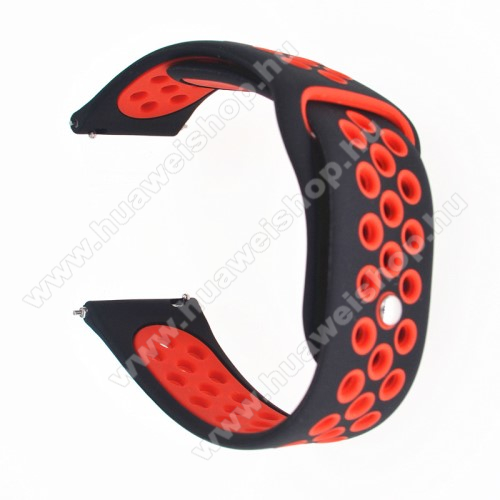 HUAWEI Honor MagicWatch 2 42mmOkosóra szíj - légáteresztő, sportoláshoz, szilikon - 120mm + 100mm hosszú, 20mm széles - FEKETE / PIROS - SAMSUNG Galaxy Watch 42mm / Xiaomi Amazfit GTS / SAMSUNG Gear S2 / HUAWEI Watch GT 2 42mm / Galaxy Watch Active / Active 2