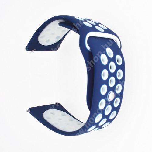 HUAWEI Honor MagicWatch 2 42mm Okosóra szíj - légáteresztő, sportoláshoz, szilikon - 120mm + 97mm hosszú, 20mm széles - FEHÉR / SÖTÉTKÉK - SAMSUNG Galaxy Watch 42mm / Xiaomi Amazfit GTS / SAMSUNG Gear S2 / HUAWEI Watch GT 2 42mm / Galaxy Watch Active / Active 2