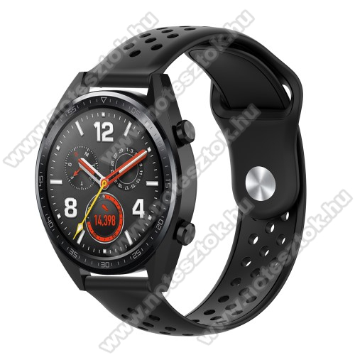 HUAWEI Honor MagicWatch 2 42mm Okosóra szíj - légáteresztő, sportoláshoz, szilikon - 110mm + 90mm hosszú, 20mm széles - FEKETE - SAMSUNG Galaxy Watch 42mm / Xiaomi Amazfit GTS / SAMSUNG Gear S2 / HUAWEI Watch GT 2 42mm / Galaxy Watch Active / Active 2