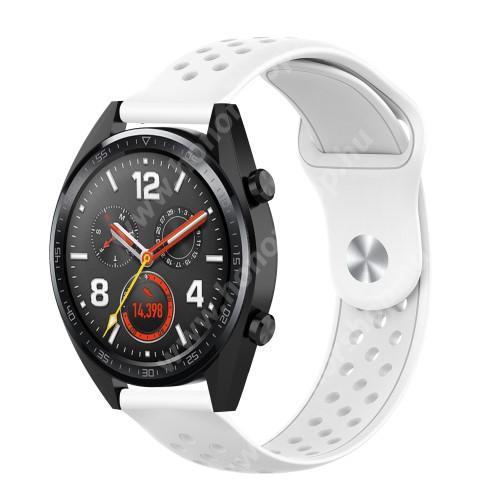 HUAWEI Honor MagicWatch 2 42mm Okosóra szíj - légáteresztő, sportoláshoz, szilikon - 110mm + 90mm hosszú, 20mm széles - FEHÉR - SAMSUNG Galaxy Watch 42mm / Xiaomi Amazfit GTS / SAMSUNG Gear S2 / HUAWEI Watch GT 2 42mm / Galaxy Watch Active / Active 2