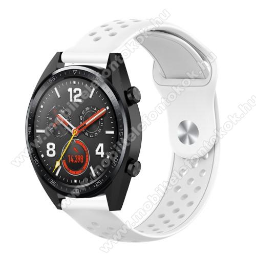 Okosóra szíj - légáteresztő, sportoláshoz, szilikon - 110mm + 90mm hosszú, 20mm széles - FEHÉR - SAMSUNG Galaxy Watch 42mm / Xiaomi Amazfit GTS / SAMSUNG Gear S2 / HUAWEI Watch GT 2 42mm / Galaxy Watch Active / Active 2