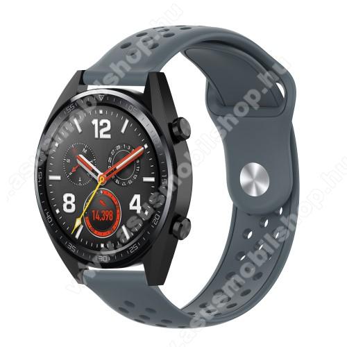 Okosóra szíj - légáteresztő, sportoláshoz, szilikon - 110mm + 90mm hosszú, 20mm széles - SZÜRKE - SAMSUNG Galaxy Watch 42mm / Xiaomi Amazfit GTS / SAMSUNG Gear S2 / HUAWEI Watch GT 2 42mm / Galaxy Watch Active / Active 2