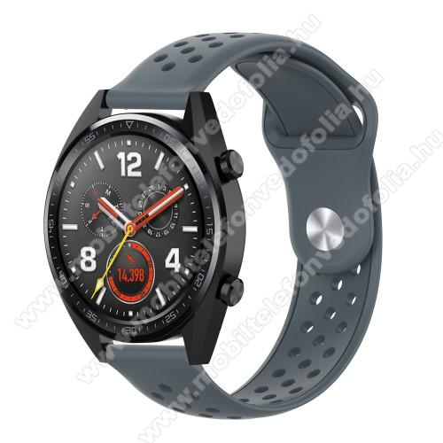 Garmin VenuOkosóra szíj - légáteresztő, sportoláshoz, szilikon - 110mm + 90mm hosszú, 20mm széles - SZÜRKE - SAMSUNG Galaxy Watch 42mm / Xiaomi Amazfit GTS / SAMSUNG Gear S2 / HUAWEI Watch GT 2 42mm / Galaxy Watch Active / Active 2