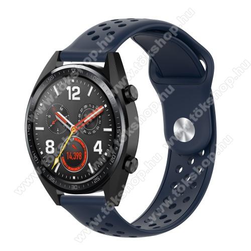 vivo Watch 42mmOkosóra szíj - légáteresztő, sportoláshoz, szilikon - 110mm + 90mm hosszú, 20mm széles - SÖTÉTKÉK - SAMSUNG Galaxy Watch 42mm / Xiaomi Amazfit GTS / SAMSUNG Gear S2 / HUAWEI Watch GT 2 42mm / Galaxy Watch Active / Active 2