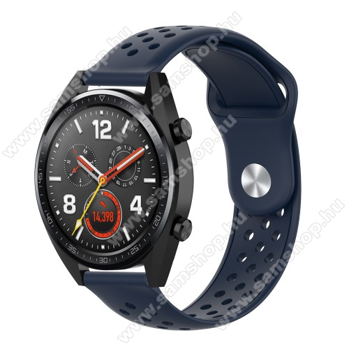 SAMSUNG Galaxy Watch 42mm (SM-R810NZ) Okosóra szíj - légáteresztő, sportoláshoz, szilikon - 110mm + 90mm hosszú, 20mm széles - SÖTÉTKÉK - SAMSUNG Galaxy Watch 42mm / Xiaomi Amazfit GTS / SAMSUNG Gear S2 / HUAWEI Watch GT 2 42mm / Galaxy Watch Active / Active 2