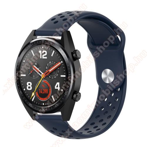 Huami Amazfit Youth Edition LiteOkosóra szíj - légáteresztő, sportoláshoz, szilikon - 110mm + 90mm hosszú, 20mm széles - SÖTÉTKÉK - SAMSUNG Galaxy Watch 42mm / Xiaomi Amazfit GTS / SAMSUNG Gear S2 / HUAWEI Watch GT 2 42mm / Galaxy Watch Active / Active 2