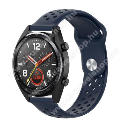 HUAWEI Honor MagicWatch 2 42mmOkosóra szíj - légáteresztő, sportoláshoz, szilikon - 110mm + 90mm hosszú, 20mm széles - SÖTÉTKÉK - SAMSUNG Galaxy Watch 42mm / Xiaomi Amazfit GTS / SAMSUNG Gear S2 / HUAWEI Watch GT 2 42mm / Galaxy Watch Active / Active 2