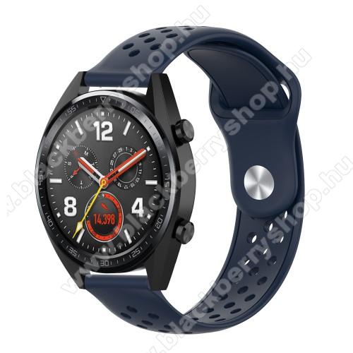 Okosóra szíj - légáteresztő, sportoláshoz, szilikon - 110mm + 90mm hosszú, 20mm széles - SÖTÉTKÉK - SAMSUNG Galaxy Watch 42mm / Xiaomi Amazfit GTS / SAMSUNG Gear S2 / HUAWEI Watch GT 2 42mm / Galaxy Watch Active / Active 2