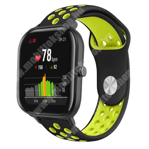 Okosóra szíj - légáteresztő, sportoláshoz, szilikon - 85mm + 139mm hosszú, 20mm széles - FEKETE / ZÖLD - SAMSUNG Galaxy Watch 42mm / Xiaomi Amazfit GTS / SAMSUNG Gear S2 / HUAWEI Watch GT 2 42mm / Galaxy Watch Active / Active 2