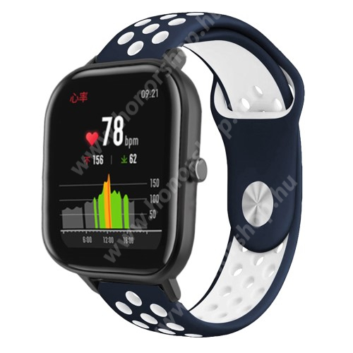 Okosóra szíj - légáteresztő, sportoláshoz, szilikon - 85mm + 139mm hosszú, 20mm széles - KÉK / FEHÉR - SAMSUNG Galaxy Watch 42mm / Xiaomi Amazfit GTS / SAMSUNG Gear S2 / HUAWEI Watch GT 2 42mm / Galaxy Watch Active / Active 2