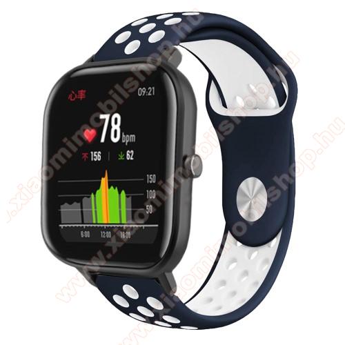 Okosóra szíj - légáteresztő, sportoláshoz, szilikon - 85mm + 139mm hosszú, 20mm széles - KÉK / FEHÉR - SAMSUNG Galaxy Watch 42mm / Xiaomi Amazfit GTS / SAMSUNG Gear S2 / HUAWEI Watch GT 2 42mm / Galaxy Watch Active / Active 2