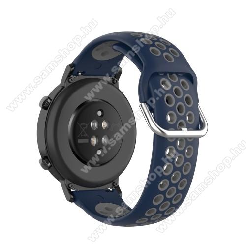 SAMSUNG Galaxy Watch 42mm (SM-R810NZ)Okosóra szíj - légáteresztő, sportoláshoz, szilikon - 129mm + 86mm hosszú, 20mm széles, 140mm-től 220mm-es méretű csuklóig ajánlott - SÖTÉTKÉK / SZÜRKE - SAMSUNG Galaxy Watch 42mm / Amazfit GTS / HUAWEI Watch GT 2 42mm / Galaxy Watch Active / Active 2
