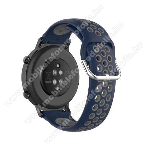 Xiaomi 70mai SaphirOkosóra szíj - légáteresztő, sportoláshoz, szilikon - 129mm + 86mm hosszú, 20mm széles, 140mm-től 220mm-es méretű csuklóig ajánlott - SÖTÉTKÉK / SZÜRKE - SAMSUNG Galaxy Watch 42mm / Amazfit GTS / HUAWEI Watch GT 2 42mm / Galaxy Watch Active / Active 2