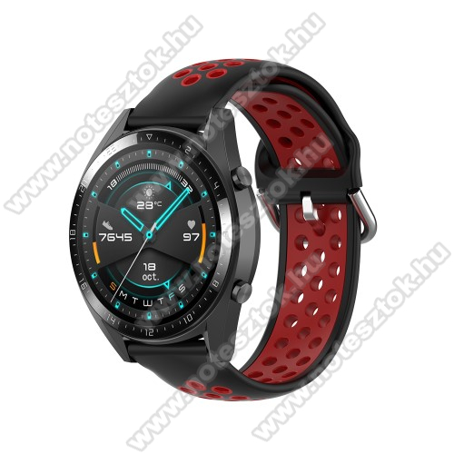 ZTE Watch GTOkosóra szíj - légáteresztő, sportoláshoz, szilikon - 130mm + 86mm hosszú, 22mm széles, 140mm-től 220mm-es méretű csuklóig ajánlott - FEKETE / PIROS - SAMSUNG Galaxy Watch 46mm / Watch GT2 46mm / Watch GT 2e / Gear S3 Frontier / Honor MagicWatch 2 46mm