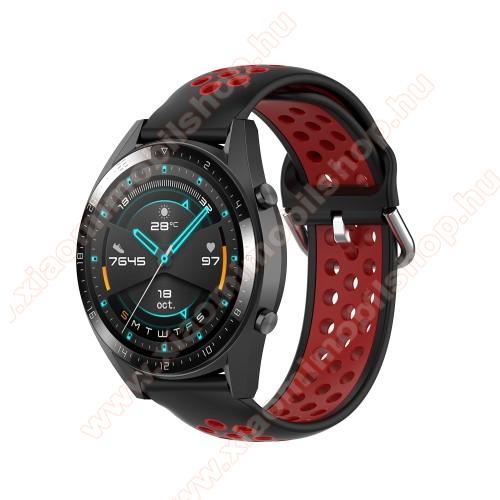 Xiaomi Amazfit Stratos 3Okosóra szíj - légáteresztő, sportoláshoz, szilikon - 130mm + 86mm hosszú, 22mm széles, 140mm-től 220mm-es méretű csuklóig ajánlott - FEKETE / PIROS - SAMSUNG Galaxy Watch 46mm / Watch GT2 46mm / Watch GT 2e / Gear S3 Frontier / Honor MagicWatch 2 46mm