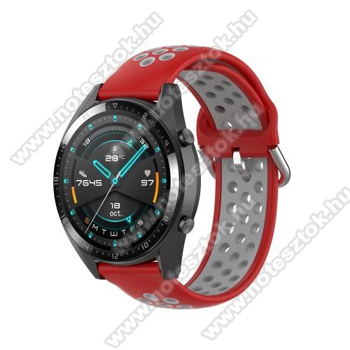 ZTE Watch GTOkosóra szíj - légáteresztő, sportoláshoz, szilikon - 130mm + 86mm hosszú, 22mm széles, 140mm-től 220mm-es méretű csuklóig ajánlott - PIROS / SZÜRKE - SAMSUNG Galaxy Watch 46mm / Watch GT2 46mm / Watch GT 2e / Gear S3 Frontier / Honor MagicWatch 2 46mm