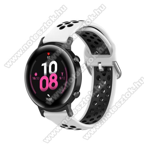 WOTCHI SmartWatch W22SOkosóra szíj - légáteresztő, sportoláshoz, szilikon - 130mm + 86mm hosszú, 20mm széles, 140mm-től 220mm-es méretű csuklóig ajánlott - FEHÉR / FEKETE - SAMSUNG Galaxy Watch 42mm / Amazfit GTS / HUAWEI Watch GT 2 42mm / Galaxy Watch Active / Active 2