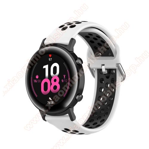 Xiaomi Amazfit BIP LiteOkosóra szíj - légáteresztő, sportoláshoz, szilikon - 130mm + 86mm hosszú, 20mm széles, 140mm-től 220mm-es méretű csuklóig ajánlott - FEHÉR / FEKETE - SAMSUNG Galaxy Watch 42mm / Amazfit GTS / HUAWEI Watch GT 2 42mm / Galaxy Watch Active / Active 2