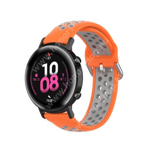 HUAWEI Honor MagicWatch 2 42mm Okosóra szíj - légáteresztő, sportoláshoz, szilikon - 130mm + 86mm hosszú, 20mm széles, 140mm-től 220mm-es méretű csuklóig ajánlott - NARANCSSÁRGA / SZÜRKE - SAMSUNG Galaxy Watch 42mm / Amazfit GTS / HUAWEI Watch GT 2 42mm / Galaxy Watch Active / Active 2
