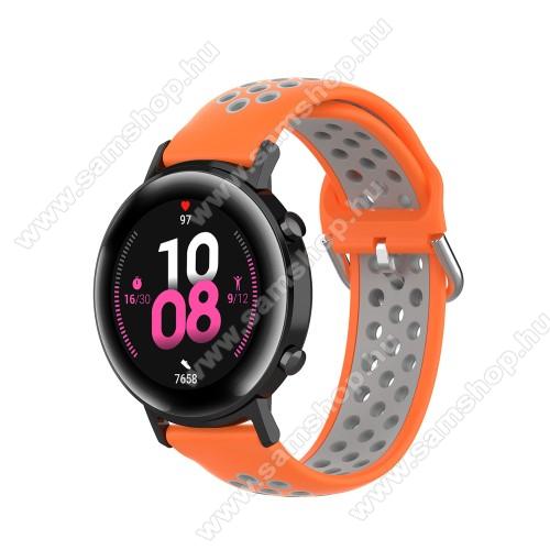 SAMSUNG Galaxy Watch Active2 40mmOkosóra szíj - légáteresztő, sportoláshoz, szilikon - 130mm + 86mm hosszú, 20mm széles, 140mm-től 220mm-es méretű csuklóig ajánlott - NARANCSSÁRGA / SZÜRKE - SAMSUNG Galaxy Watch 42mm / Amazfit GTS / HUAWEI Watch GT 2 42mm / Galaxy Watch Active / Active 2
