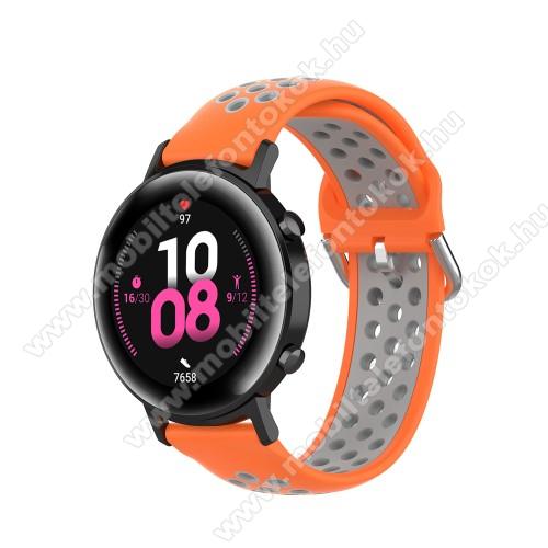 Xiaomi Amazfit NeoOkosóra szíj - légáteresztő, sportoláshoz, szilikon - 130mm + 86mm hosszú, 20mm széles, 140mm-től 220mm-es méretű csuklóig ajánlott - NARANCSSÁRGA / SZÜRKE - SAMSUNG Galaxy Watch 42mm / Amazfit GTS / HUAWEI Watch GT 2 42mm / Galaxy Watch Active / Active 2